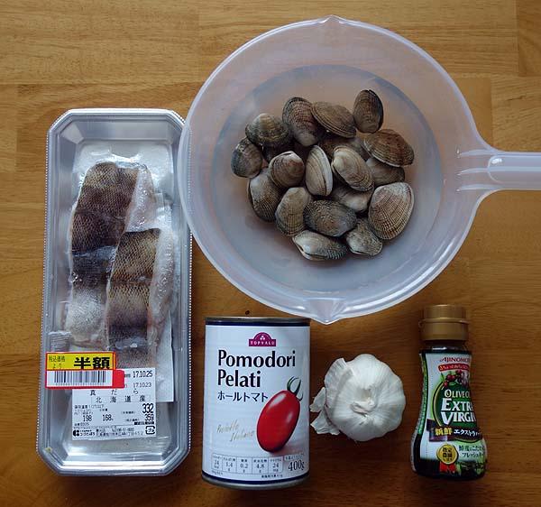 タラと浅利のアクアパッツアとボロネーゼミートソースパスタでおっさん簡単イタリアン