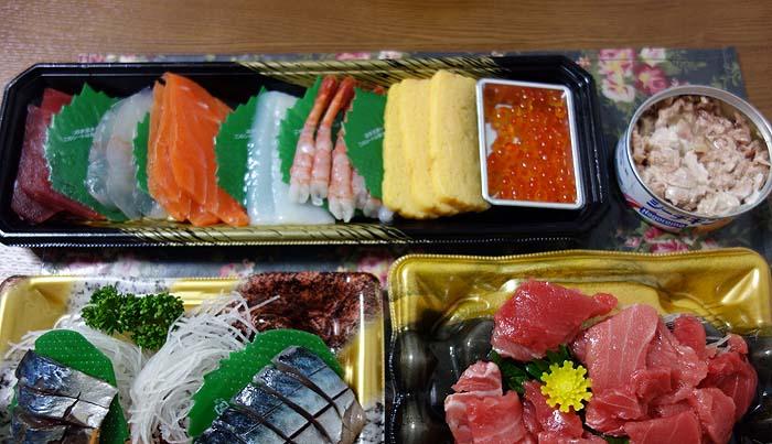私が外で海鮮丼・寿司を食わなくなった理由(わけ)~スーパー半額見切り品でお家で手巻き寿司♪
