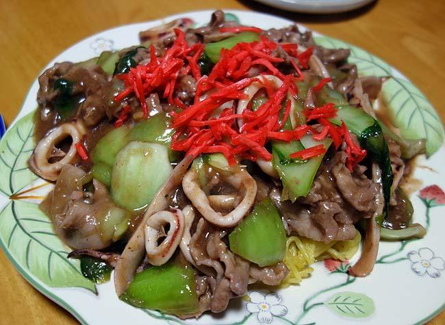 豚肉とイカを使った中華あんかけ焼きそば~中華炒め料理アレンジ版