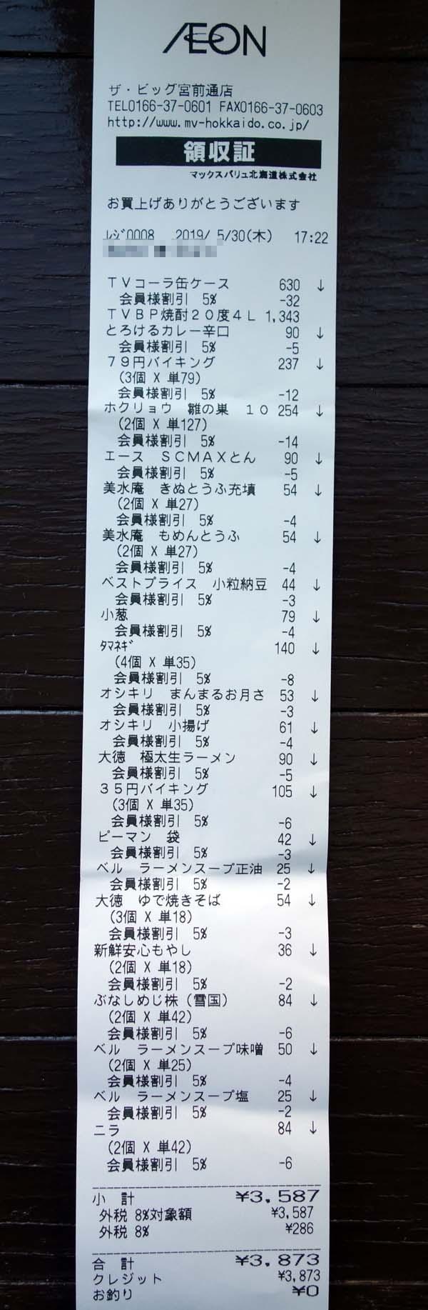 月3万円2人食費生活は成り立っているのか(その3)イオンお客様感謝デーで5%オフ