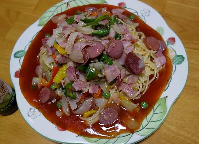 名古屋名物「あんかけスパゲティ」♪今日はカラフルに盛りつけてみた