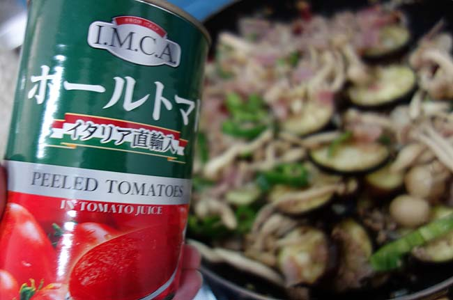 茄子しめじベーコンミートトマトソース~今回の節約パスタはちょっと贅沢に♪