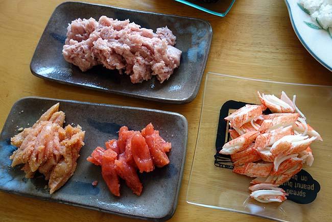 今回の手巻き寿司はマヨネーズだらけ♪たらこ&明太子&カニカマにまぐろたたきで